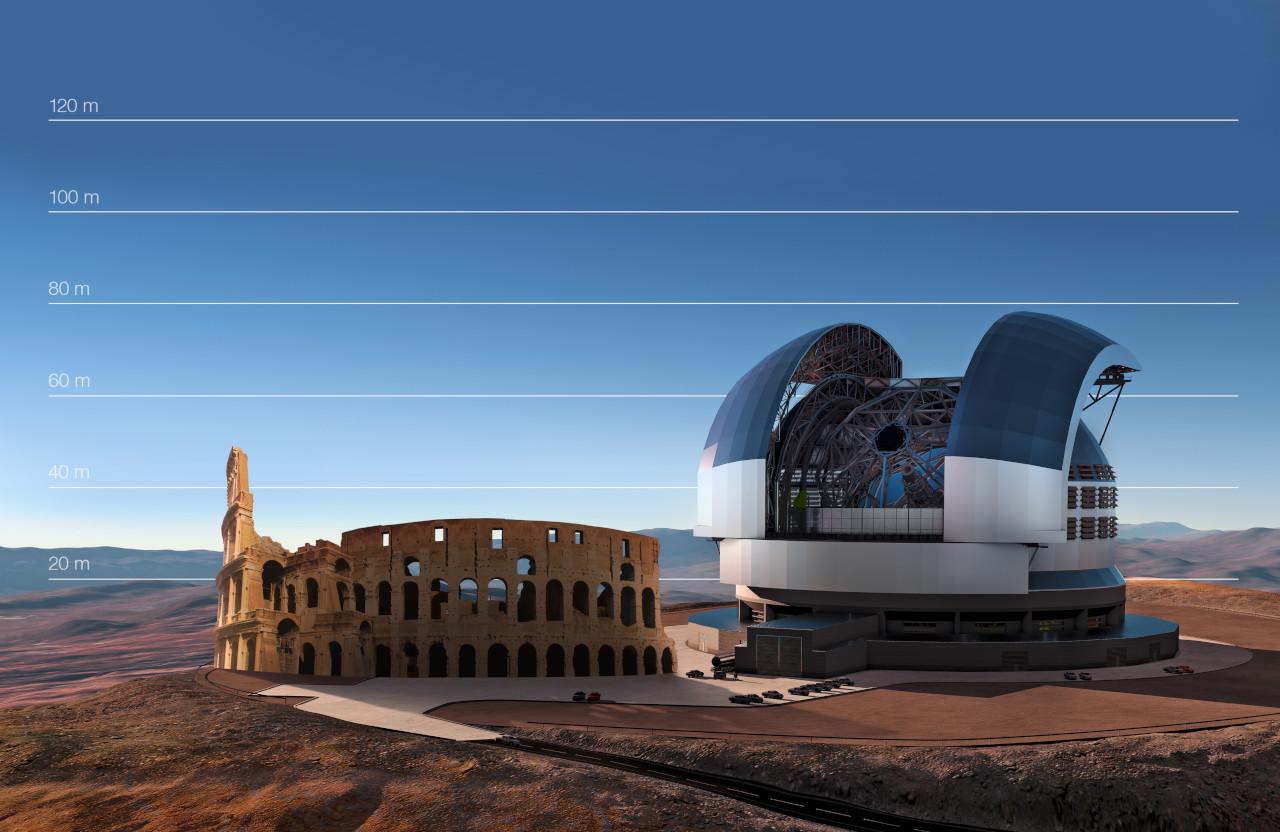Progetto di costruzione del Extreme Large Telescope (ELT) nel deserto di Atacama in Cile.